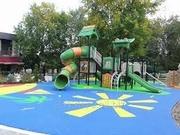 Резиновое тартановое покрытие, детские площадки, искуственный газон