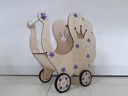 Деревянная коляска для девочек/Ручная работа/Комплект белья в подарок!