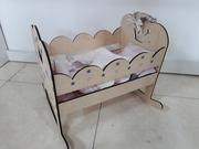 Деревянная кроватка для кукол/Hand made/Манеж/Комплект белья в подарок